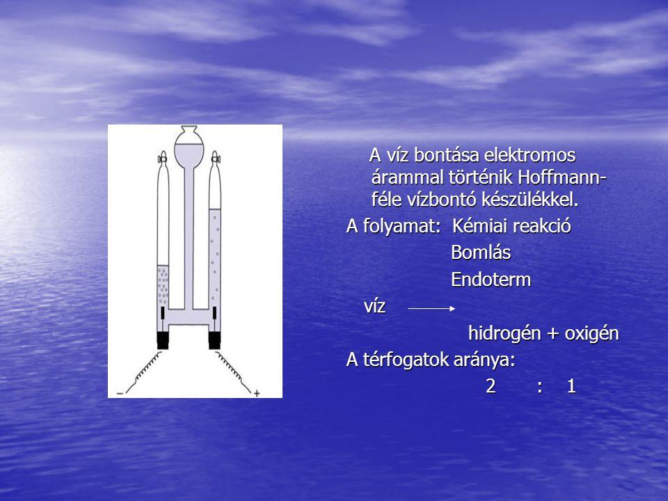 A víz bontása elektromos árammal történik Hoffmann- féle vízbontó készülékkel. A víz bontása elektromos árammal történik Hoffmann- féle vízbontó készü