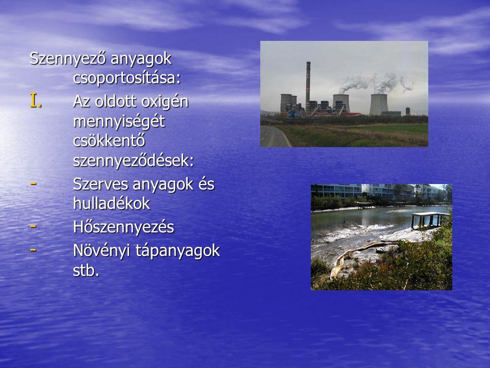 Szennyező anyagok csoportosítása: I. Az oldott oxigén mennyiségét csökkentő szennyeződések: - Szerves anyagok és hulladékok - Hőszennyezés - Növényi t