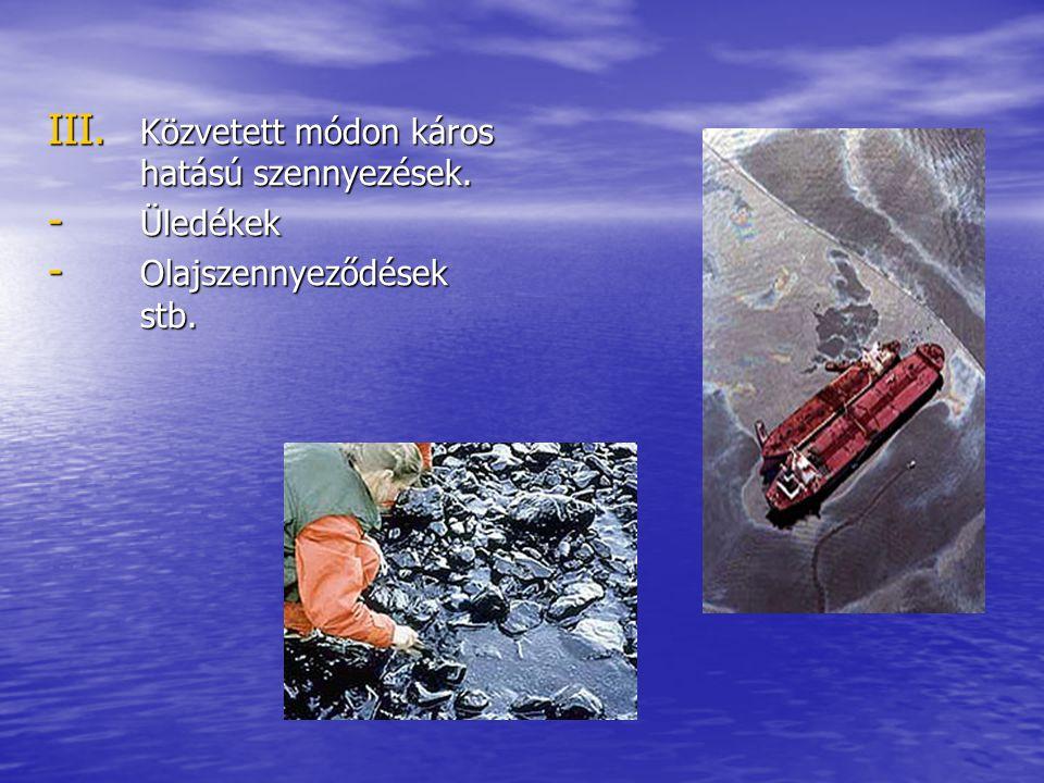 III. Közvetett módon káros hatású szennyezések. - Üledékek - Olajszennyeződések stb.