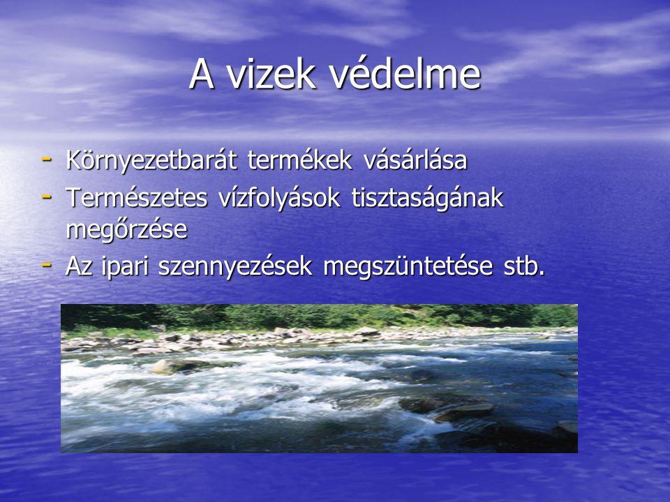 A vizek védelme - Környezetbarát termékek vásárlása - Természetes vízfolyások tisztaságának megőrzése - Az ipari szennyezések megszüntetése stb.