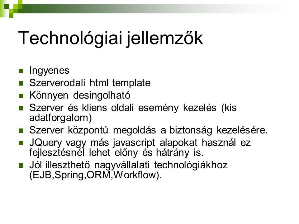 Technológiai jellemzők Ingyenes Szerverodali html template Könnyen desingolható Szerver és kliens oldali esemény kezelés (kis adatforgalom) Szerver kö