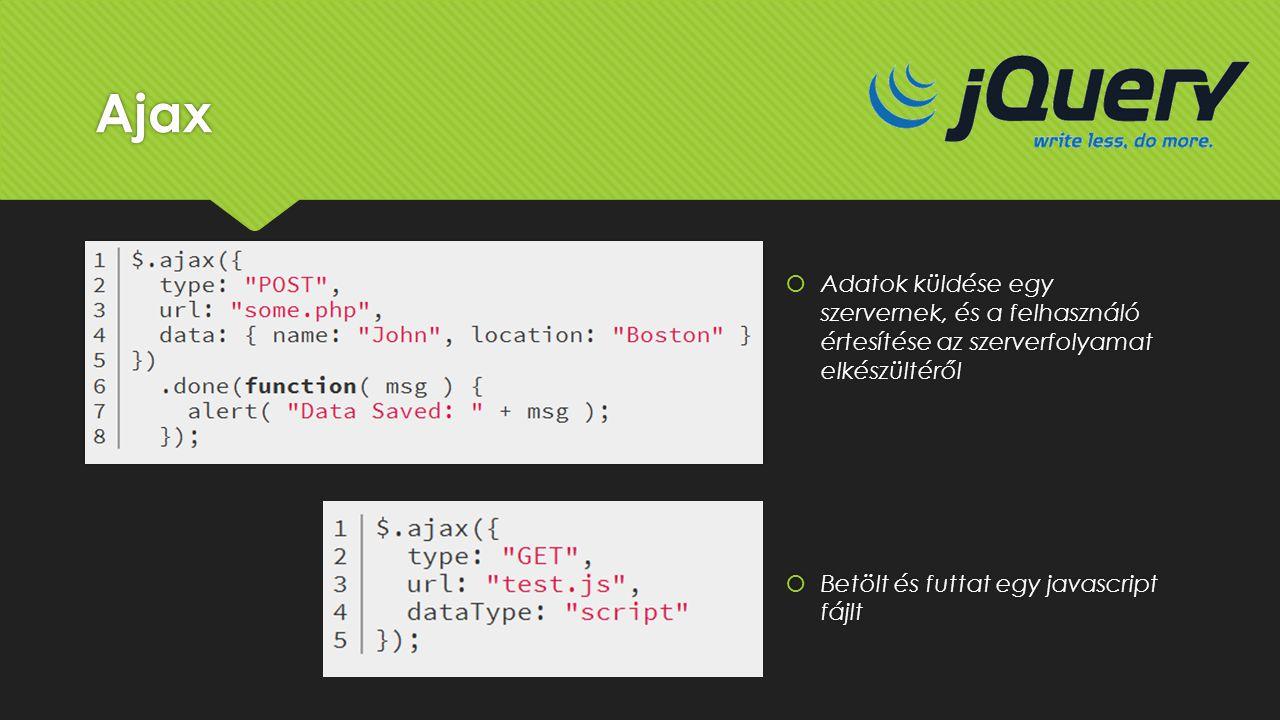 Ajax  Adatok küldése egy szervernek, és a felhasználó értesítése az szerverfolyamat elkészültéről  Betölt és futtat egy javascript fájlt  Adatok kü