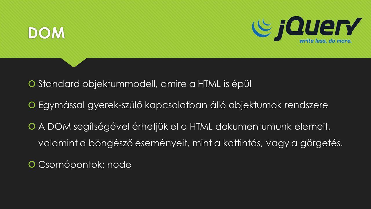 DOM  Standard objektummodell, amire a HTML is épül  Egymással gyerek-szülő kapcsolatban álló objektumok rendszere  A DOM segítségével érhetjük el a