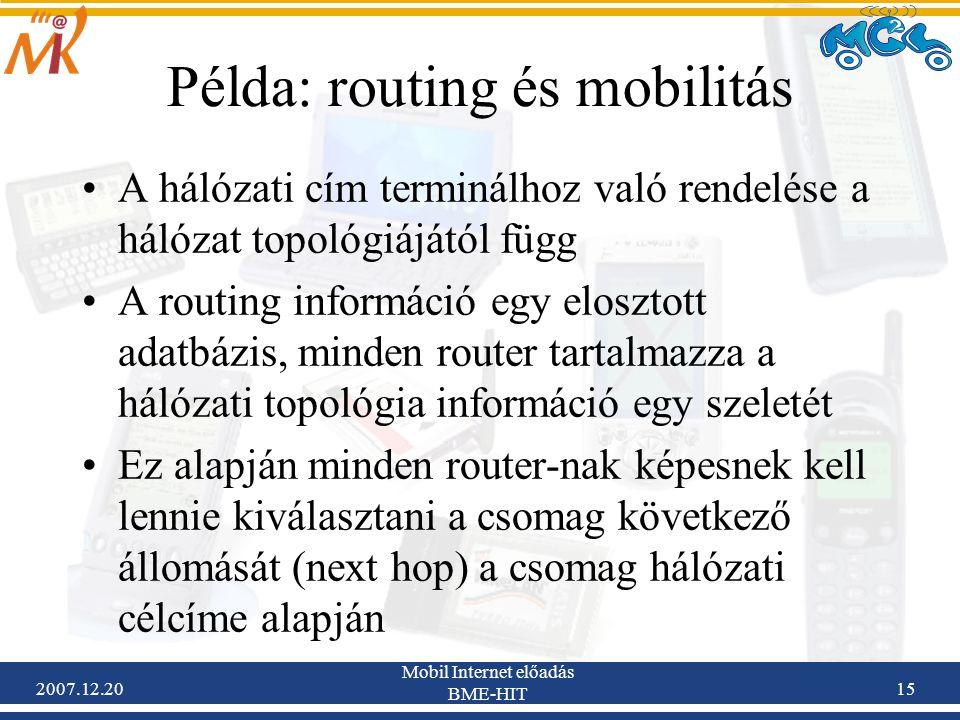 2007.12.20 Mobil Internet előadás BME-HIT 15 Példa: routing és mobilitás A hálózati cím terminálhoz való rendelése a hálózat topológiájától függ A rou