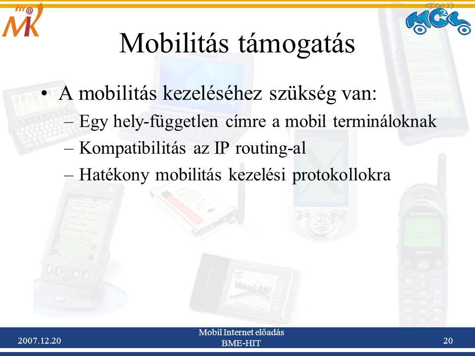 2007.12.20 Mobil Internet előadás BME-HIT 20 Mobilitás támogatás A mobilitás kezeléséhez szükség van: –Egy hely-független címre a mobil termináloknak