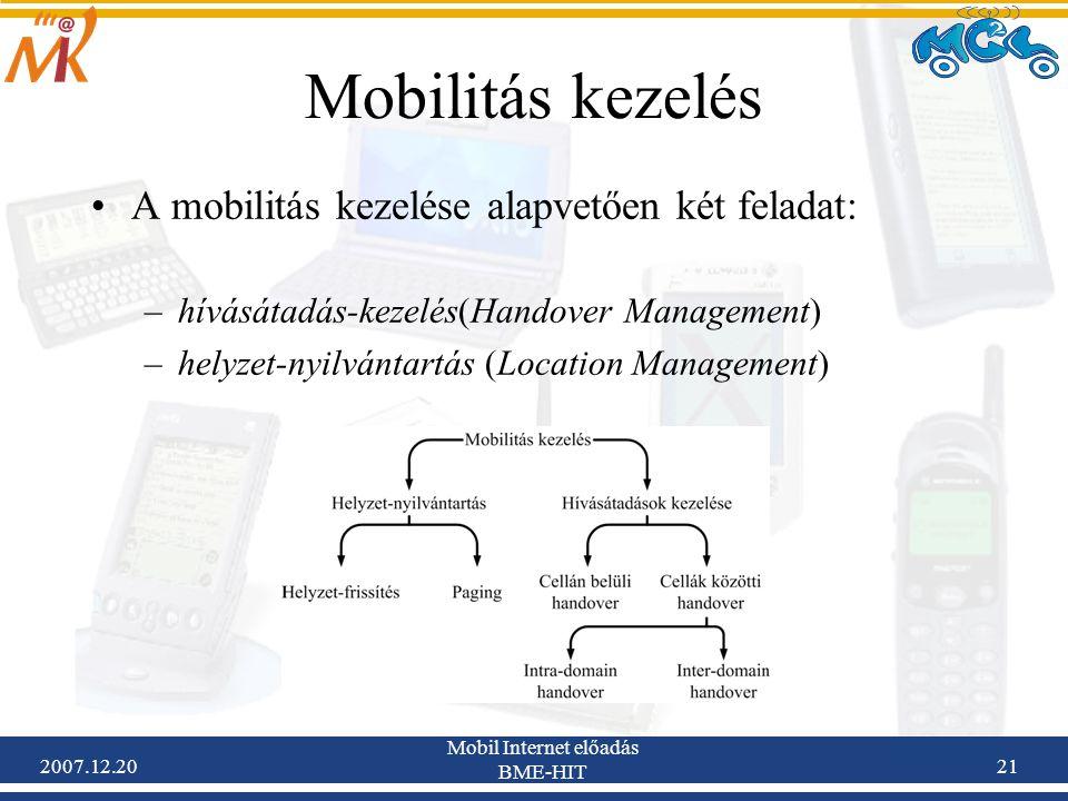 2007.12.20 Mobil Internet előadás BME-HIT 21 Mobilitás kezelés A mobilitás kezelése alapvetően két feladat: –hívásátadás-kezelés(Handover Management)