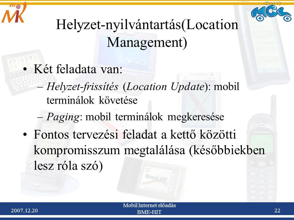 2007.12.20 Mobil Internet előadás BME-HIT 22 Helyzet-nyilvántartás(Location Management) Két feladata van: –Helyzet-frissítés (Location Update): mobil