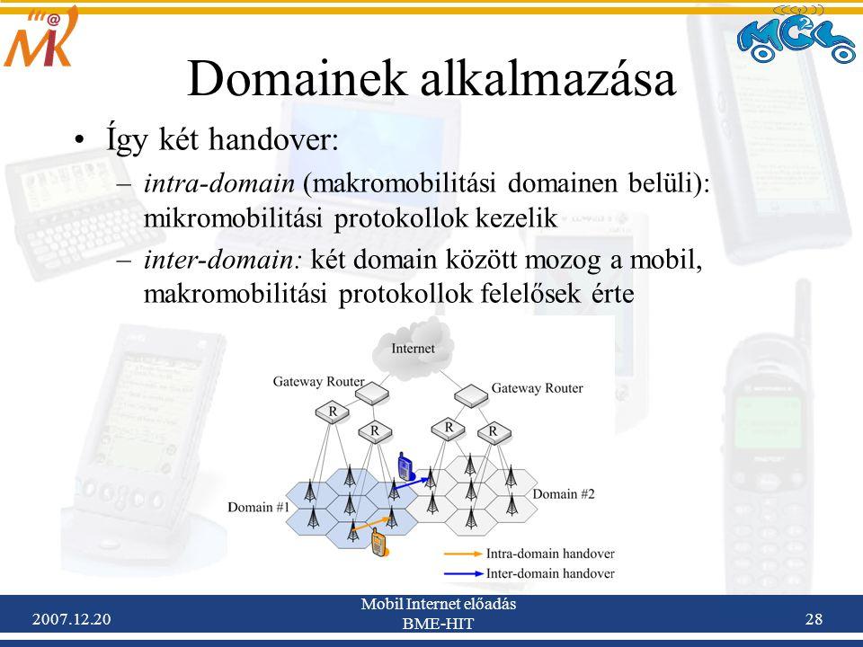 2007.12.20 Mobil Internet előadás BME-HIT 28 Domainek alkalmazása Így két handover: –intra-domain (makromobilitási domainen belüli): mikromobilitási p