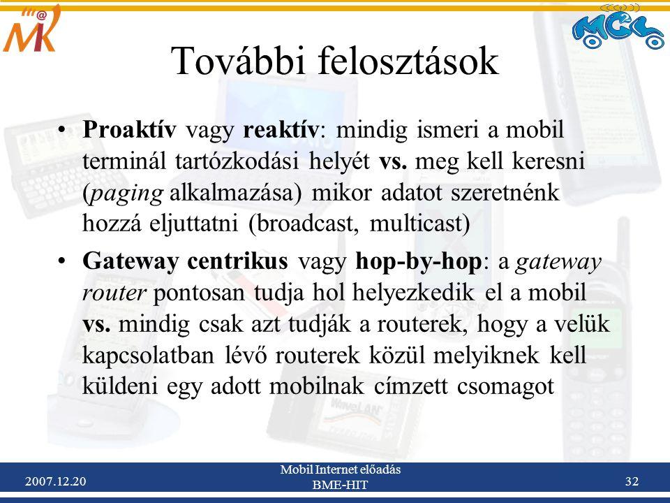 2007.12.20 Mobil Internet előadás BME-HIT 32 További felosztások Proaktív vagy reaktív: mindig ismeri a mobil terminál tartózkodási helyét vs. meg kel