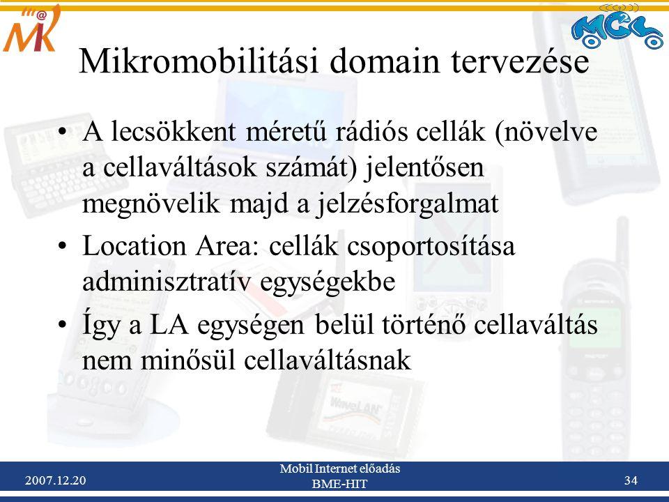 2007.12.20 Mobil Internet előadás BME-HIT 34 Mikromobilitási domain tervezése A lecsökkent méretű rádiós cellák (növelve a cellaváltások számát) jelen