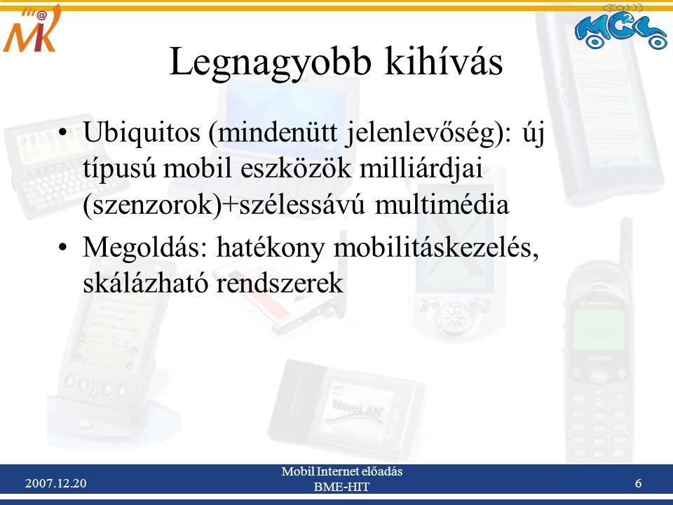 2007.12.20 Mobil Internet előadás BME-HIT 6 Legnagyobb kihívás Ubiquitos (mindenütt jelenlevőség): új típusú mobil eszközök milliárdjai (szenzorok)+sz