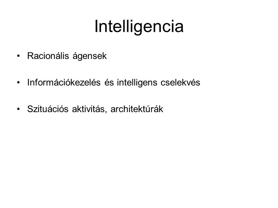 Intelligencia Racionális ágensek Információkezelés és intelligens cselekvés Szituációs aktivitás, architektúrák