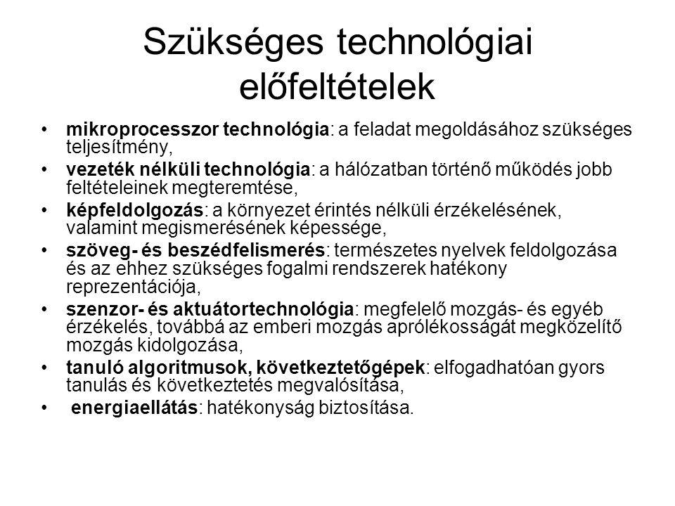 Szükséges technológiai előfeltételek mikroprocesszor technológia: a feladat megoldásához szükséges teljesítmény, vezeték nélküli technológia: a hálózatban történő működés jobb feltételeinek megteremtése, képfeldolgozás: a környezet érintés nélküli érzékelésének, valamint megismerésének képessége, szöveg- és beszédfelismerés: természetes nyelvek feldolgozása és az ehhez szükséges fogalmi rendszerek hatékony reprezentációja, szenzor- és aktuátortechnológia: megfelelő mozgás- és egyéb érzékelés, továbbá az emberi mozgás aprólékosságát megközelítő mozgás kidolgozása, tanuló algoritmusok, következtetőgépek: elfogadhatóan gyors tanulás és következtetés megvalósítása, energiaellátás: hatékonyság biztosítása.