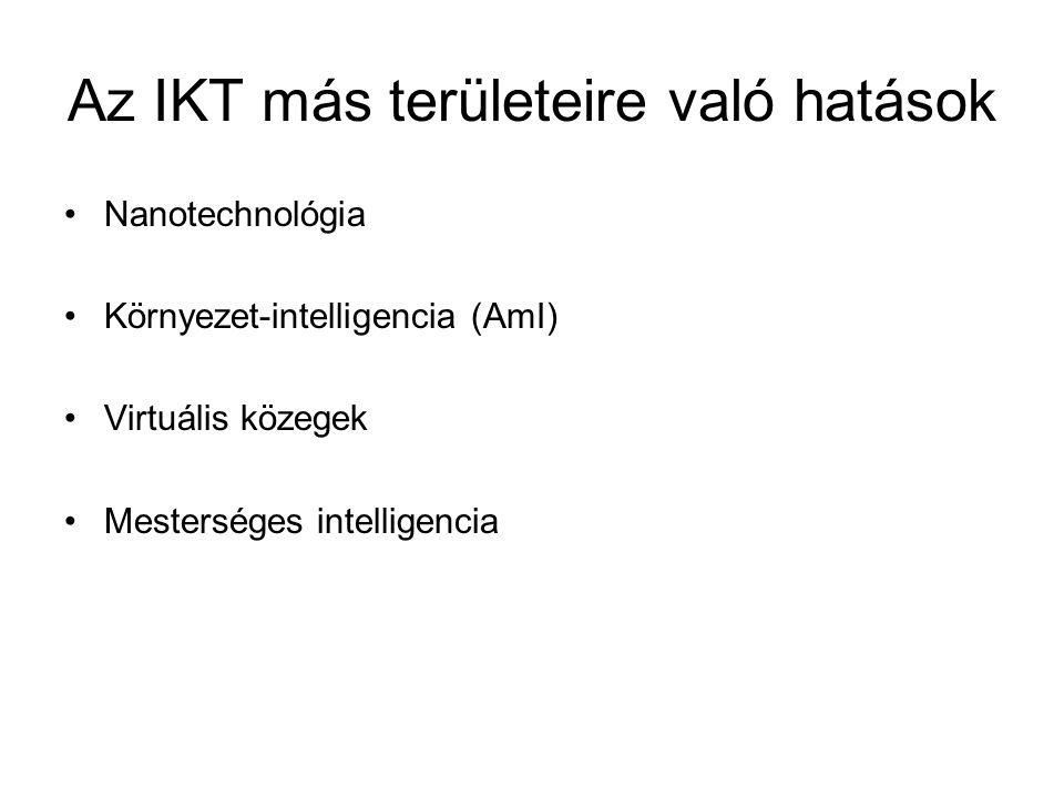 Az IKT más területeire való hatások Nanotechnológia Környezet-intelligencia (AmI) Virtuális közegek Mesterséges intelligencia