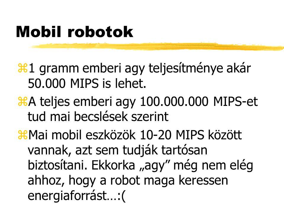 Mobil robotok z1 gramm emberi agy teljesítménye akár 50.000 MIPS is lehet.