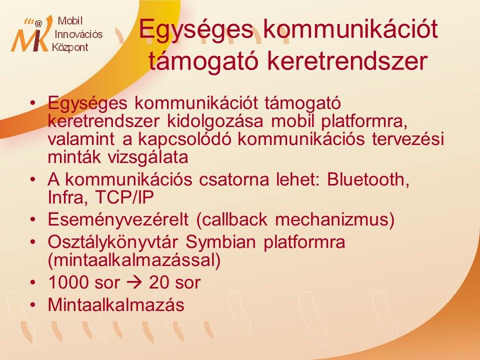 Egységes kommunikációt támogató keretrendszer Egységes kommunikációt támogató keretrendszer kidolgozása mobil platformra, valamint a kapcsolódó kommunikációs tervezési minták vizsgálata A kommunikációs csatorna lehet: Bluetooth, Infra, TCP/IP Eseményvezérelt (callback mechanizmus) Osztálykönyvtár Symbian platformra (mintaalkalmazással) 1000 sor  20 sor Mintaalkalmazás