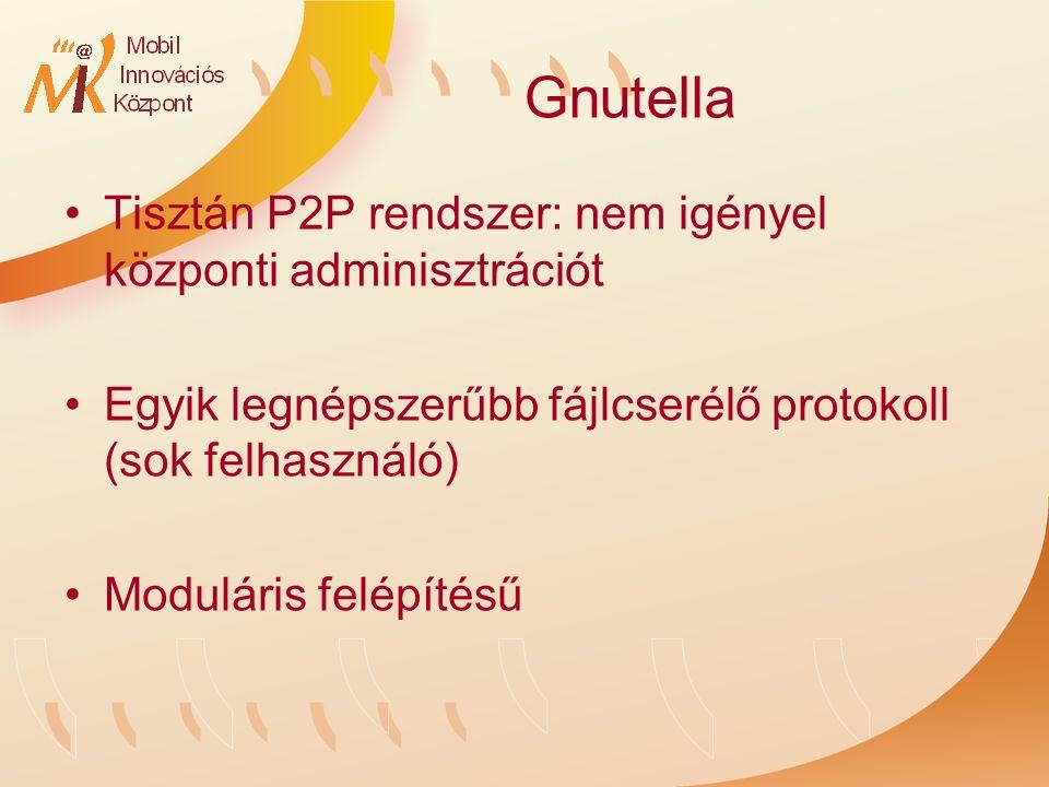 Gnutella Tisztán P2P rendszer: nem igényel központi adminisztrációt Egyik legnépszerűbb fájlcserélő protokoll (sok felhasználó) Moduláris felépítésű