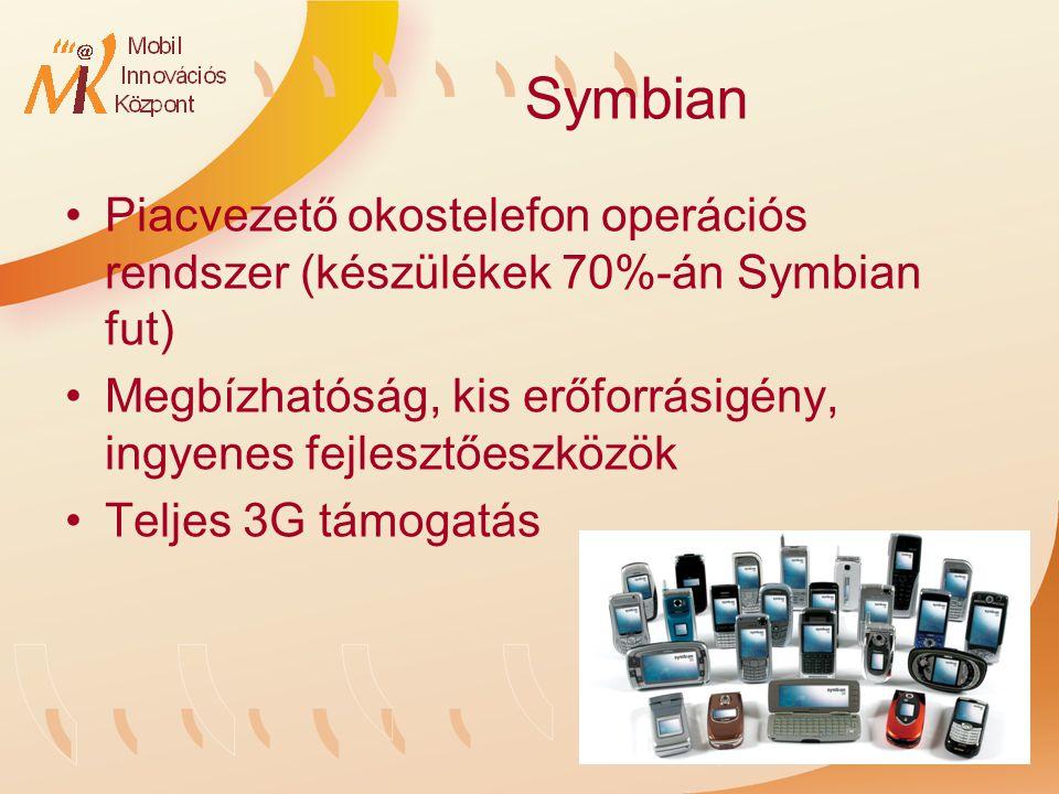 Symbian Piacvezető okostelefon operációs rendszer (készülékek 70%-án Symbian fut) Megbízhatóság, kis erőforrásigény, ingyenes fejlesztőeszközök Teljes 3G támogatás