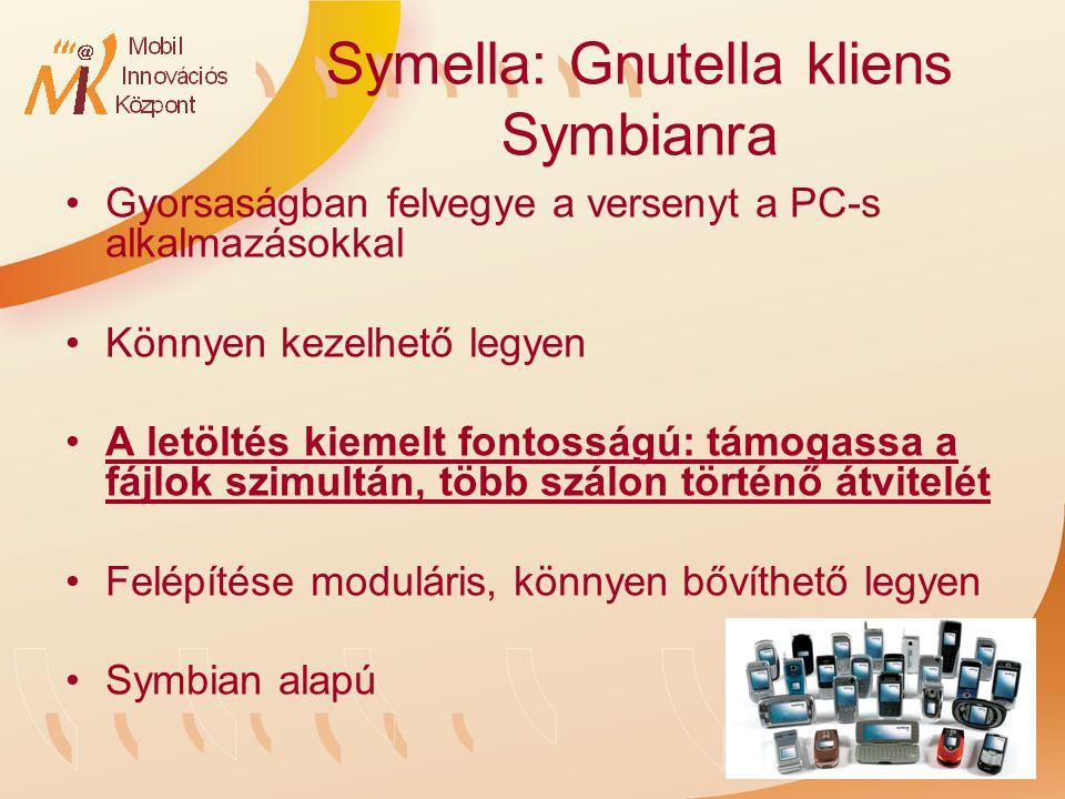Symella: Gnutella kliens Symbianra Gyorsaságban felvegye a versenyt a PC-s alkalmazásokkal Könnyen kezelhető legyen A letöltés kiemelt fontosságú: támogassa a fájlok szimultán, több szálon történő átvitelét Felépítése moduláris, könnyen bővíthető legyen Symbian alapú