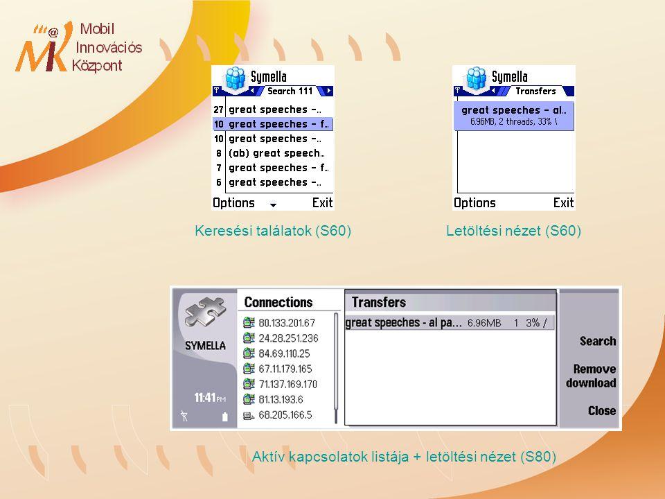 Keresési találatok (S60)Letöltési nézet (S60) Aktív kapcsolatok listája + letöltési nézet (S80)