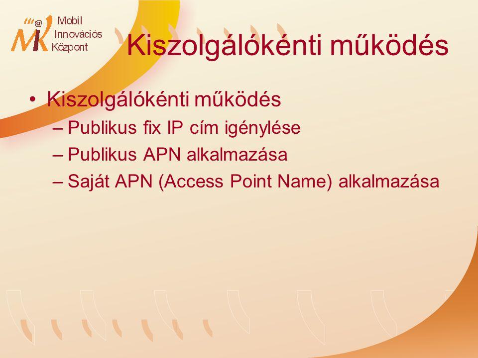 Kiszolgálókénti működés –Publikus fix IP cím igénylése –Publikus APN alkalmazása –Saját APN (Access Point Name) alkalmazása