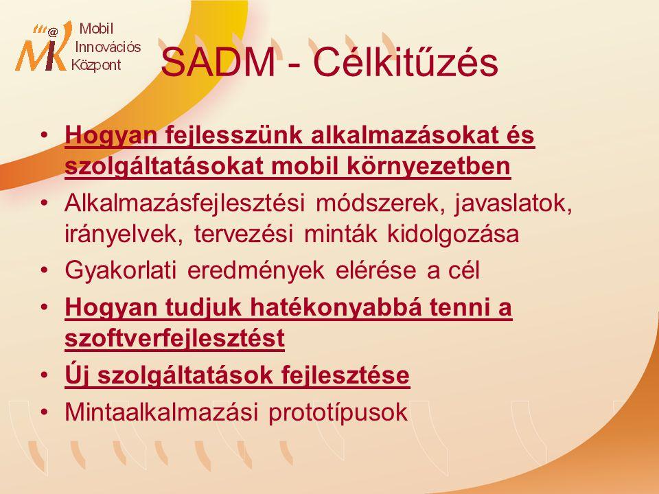 SADM - Célkitűzés Hogyan fejlesszünk alkalmazásokat és szolgáltatásokat mobil környezetben Alkalmazásfejlesztési módszerek, javaslatok, irányelvek, tervezési minták kidolgozása Gyakorlati eredmények elérése a cél Hogyan tudjuk hatékonyabbá tenni a szoftverfejlesztést Új szolgáltatások fejlesztése Mintaalkalmazási prototípusok