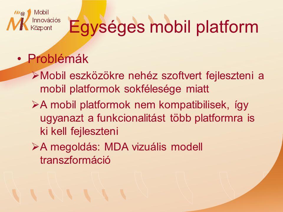 Egységes mobil platform Problémák  Mobil eszközökre nehéz szoftvert fejleszteni a mobil platformok sokfélesége miatt  A mobil platformok nem kompatibilisek, így ugyanazt a funkcionalitást több platformra is ki kell fejleszteni  A megoldás: MDA vizuális modell transzformáció