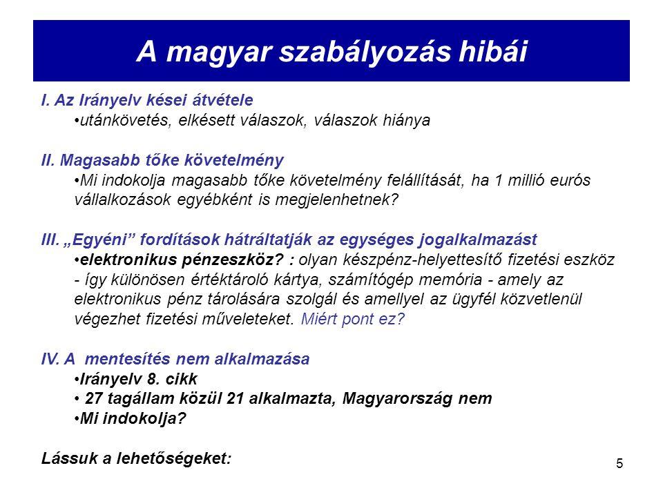 5 A magyar szabályozás hibái I. Az Irányelv kései átvétele utánkövetés, elkésett válaszok, válaszok hiánya II. Magasabb tőke követelmény Mi indokolja