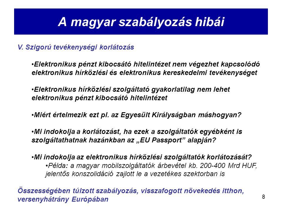 8 A magyar szabályozás hibái V. Szigorú tevékenységi korlátozás Elektronikus pénzt kibocsátó hitelintézet nem végezhet kapcsolódó elektronikus hírközl