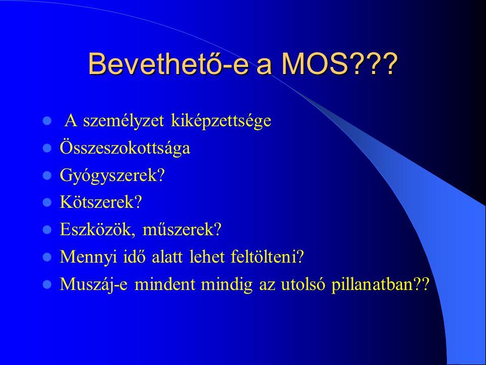 Bevethető-e a MOS??.A személyzet kiképzettsége Összeszokottsága Gyógyszerek.