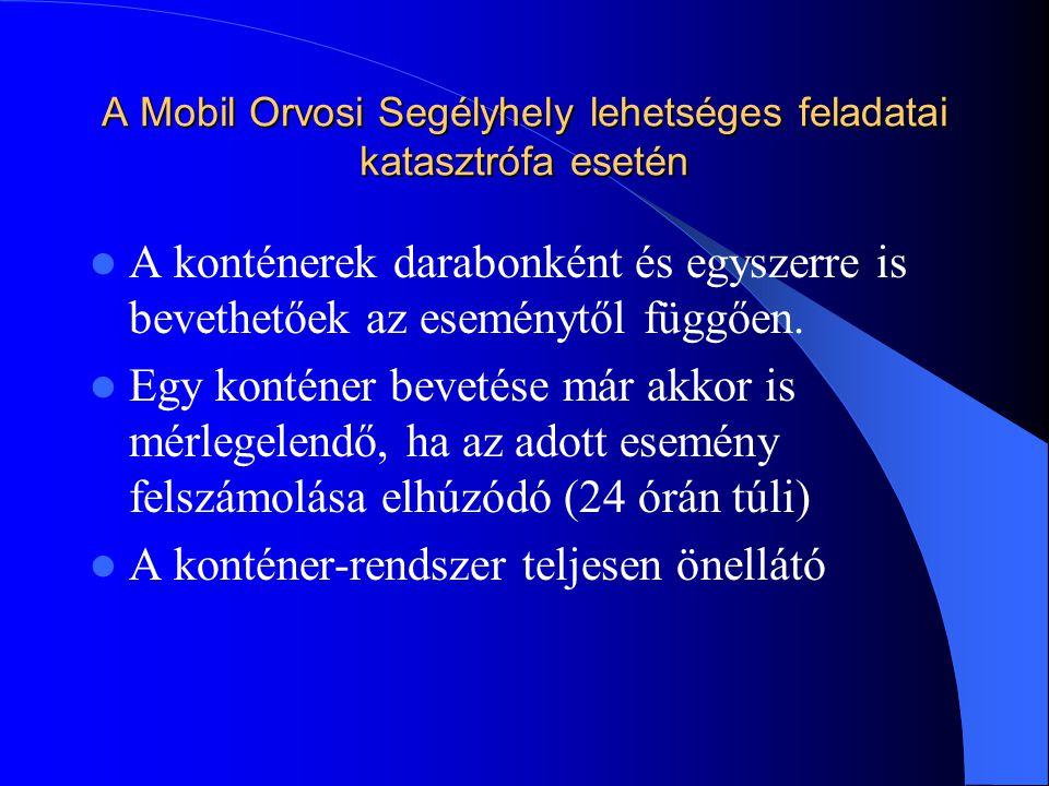 A Mobil Orvosi Segélyhely lehetséges feladatai katasztrófa esetén A konténerek darabonként és egyszerre is bevethetőek az eseménytől függően.