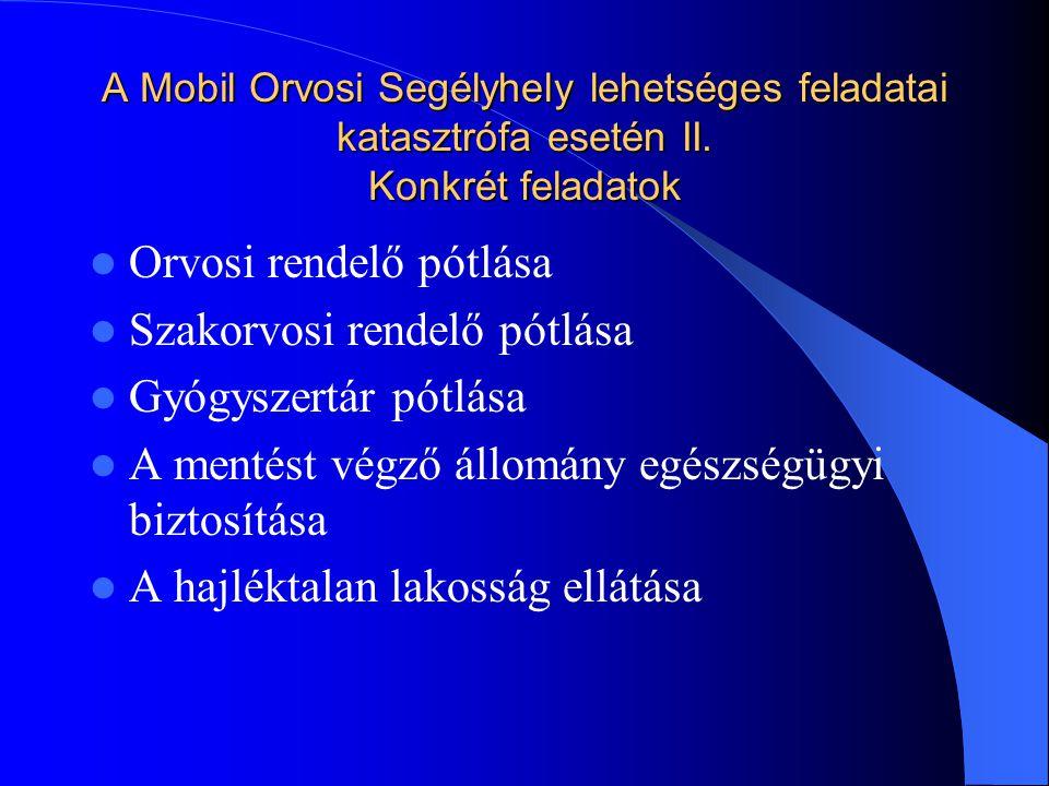 A Mobil Orvosi Segélyhely lehetséges feladatai katasztrófa esetén II.