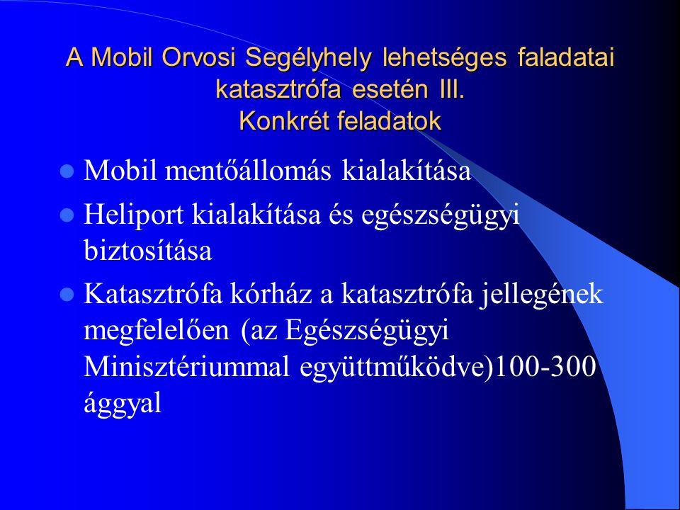 A Mobil Orvosi Segélyhely lehetséges faladatai katasztrófa esetén III.
