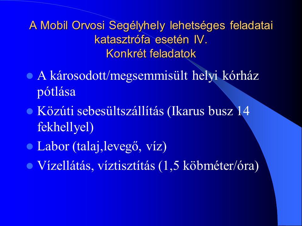 A Mobil Orvosi Segélyhely lehetséges feladatai katasztrófa esetén IV.