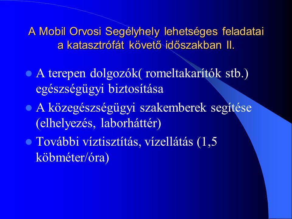 A Mobil Orvosi Segélyhely lehetséges feladatai a katasztrófát követő időszakban II.