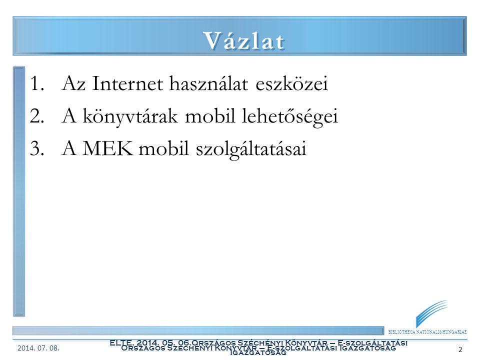 BIBLIOTHECA NATIONALIS HUNGARIAE ELTE, 2014. 05. 06.Országos Széchényi Könyvtár – E-szolgáltatási Igazgatóság 2 Vázlat 1.Az Internet használat eszköze