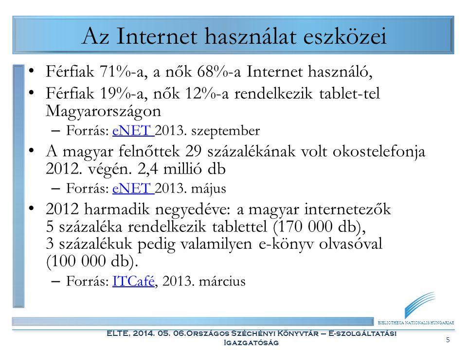 BIBLIOTHECA NATIONALIS HUNGARIAE ELTE, 2014. 05. 06.Országos Széchényi Könyvtár – E-szolgáltatási Igazgatóság 5 Az Internet használat eszközei Férfiak