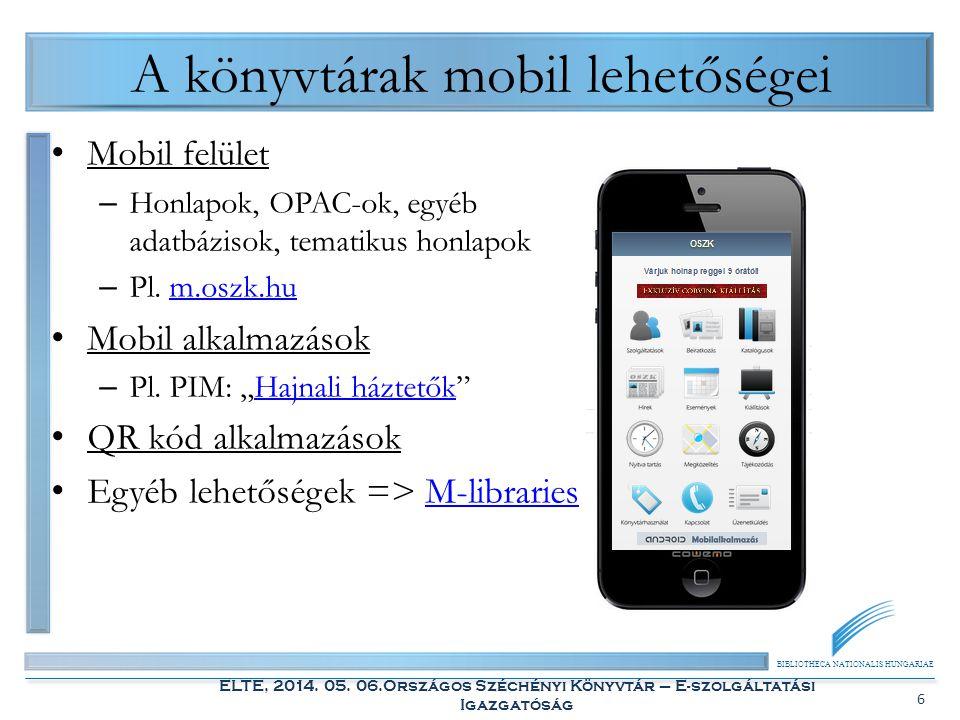 BIBLIOTHECA NATIONALIS HUNGARIAE ELTE, 2014. 05. 06.Országos Széchényi Könyvtár – E-szolgáltatási Igazgatóság 6 A könyvtárak mobil lehetőségei Mobil f