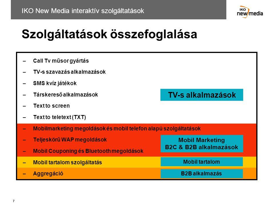 7 IKO New Media interaktív szolgáltatások –Call Tv műsor gyártás –TV-s szavazás alkalmazások –SMS kvíz játékok –Társkereső alkalmazások –Text to scree