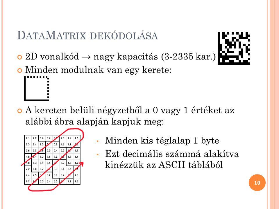 D ATA M ATRIX DEKÓDOLÁSA 2D vonalkód → nagy kapacitás (3-2335 kar.) Minden modulnak van egy kerete: A kereten belüli négyzetből a 0 vagy 1 értéket az alábbi ábra alapján kapjuk meg: 10 Minden kis téglalap 1 byte Ezt decimális számmá alakítva kinézzük az ASCII táblából