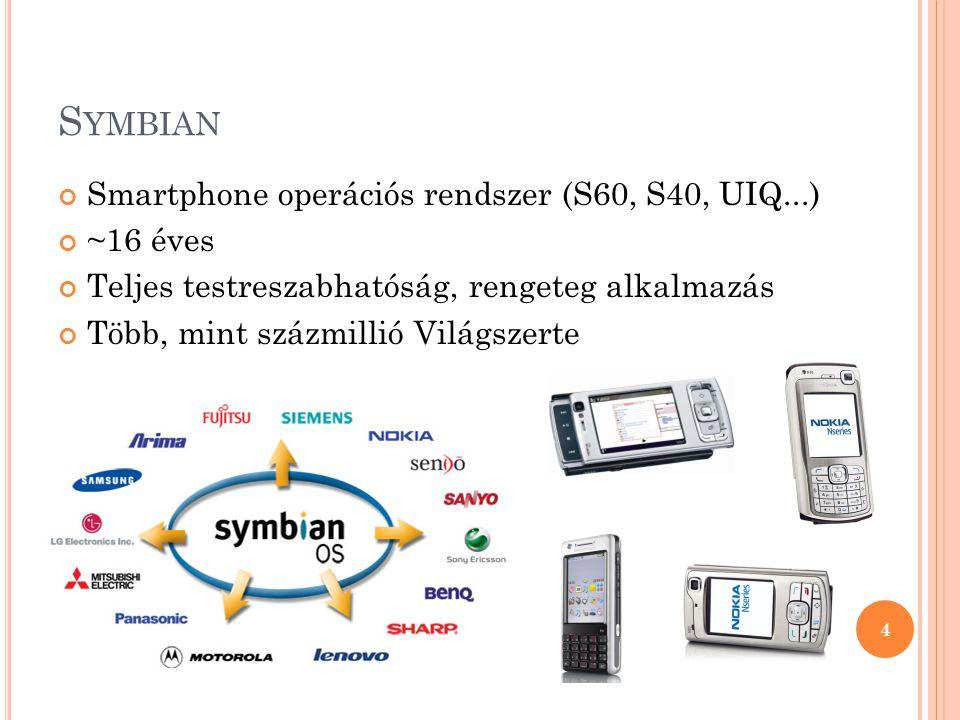 S YMBIAN Smartphone operációs rendszer (S60, S40, UIQ...) ~16 éves Teljes testreszabhatóság, rengeteg alkalmazás Több, mint százmillió Világszerte 4