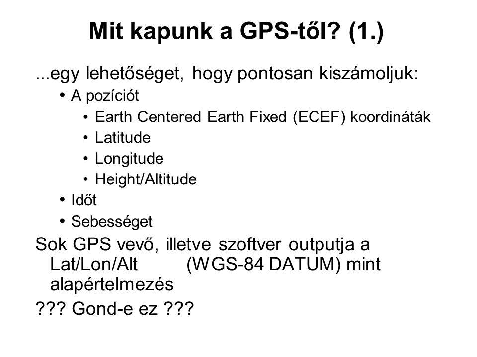 Mit kapunk a GPS-től? (1.)...egy lehetőséget, hogy pontosan kiszámoljuk: A pozíciót Earth Centered Earth Fixed (ECEF) koordináták Latitude Longitude H