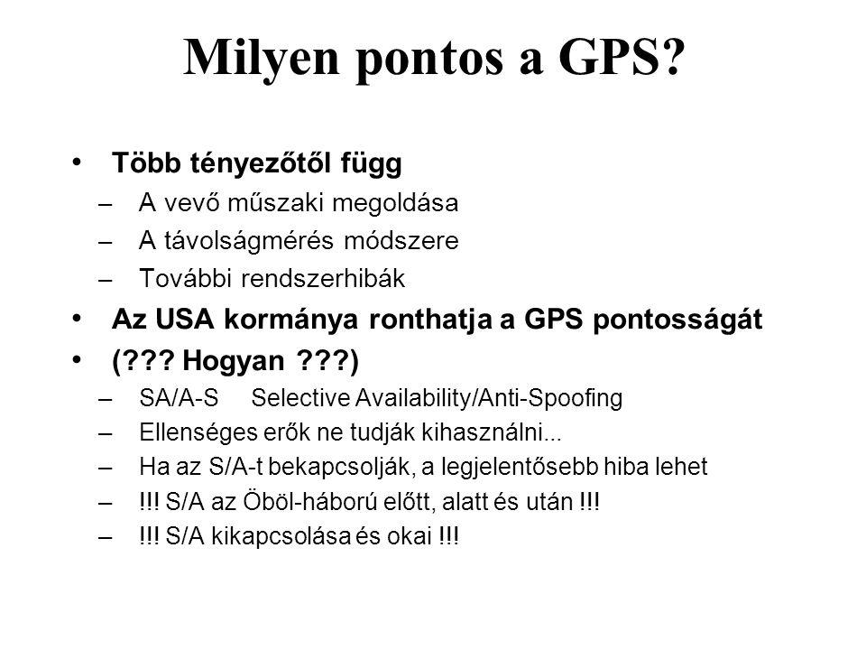 Milyen pontos a GPS? Több tényezőtől függ – A vevő műszaki megoldása – A távolságmérés módszere – További rendszerhibák Az USA kormánya ronthatja a GP