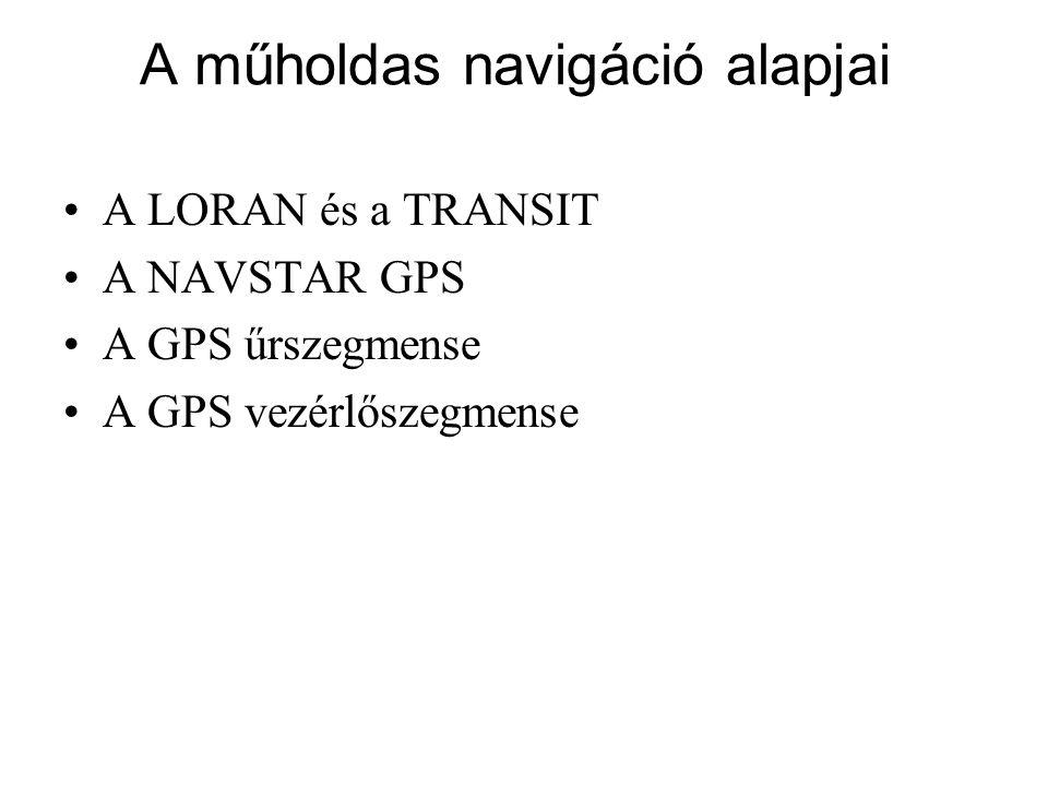 A LORAN és a TRANSIT A NAVSTAR GPS A GPS űrszegmense A GPS vezérlőszegmense