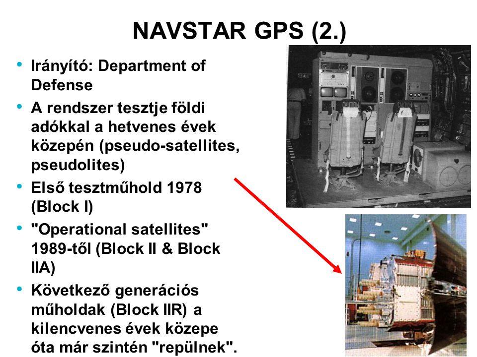 NAVSTAR GPS (2.) Irányító: Department of Defense A rendszer tesztje földi adókkal a hetvenes évek közepén (pseudo-satellites, pseudolites) Első tesztm