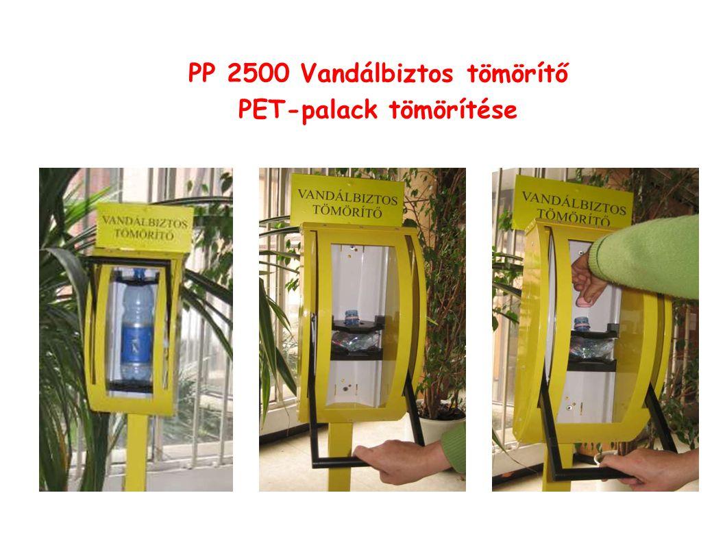 PP 2500 Vandálbiztos tömörítő PET-palack tömörítése