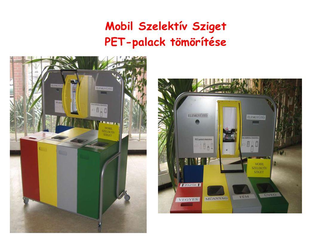 Mobil Szelektív Sziget PET-palack tömörítése