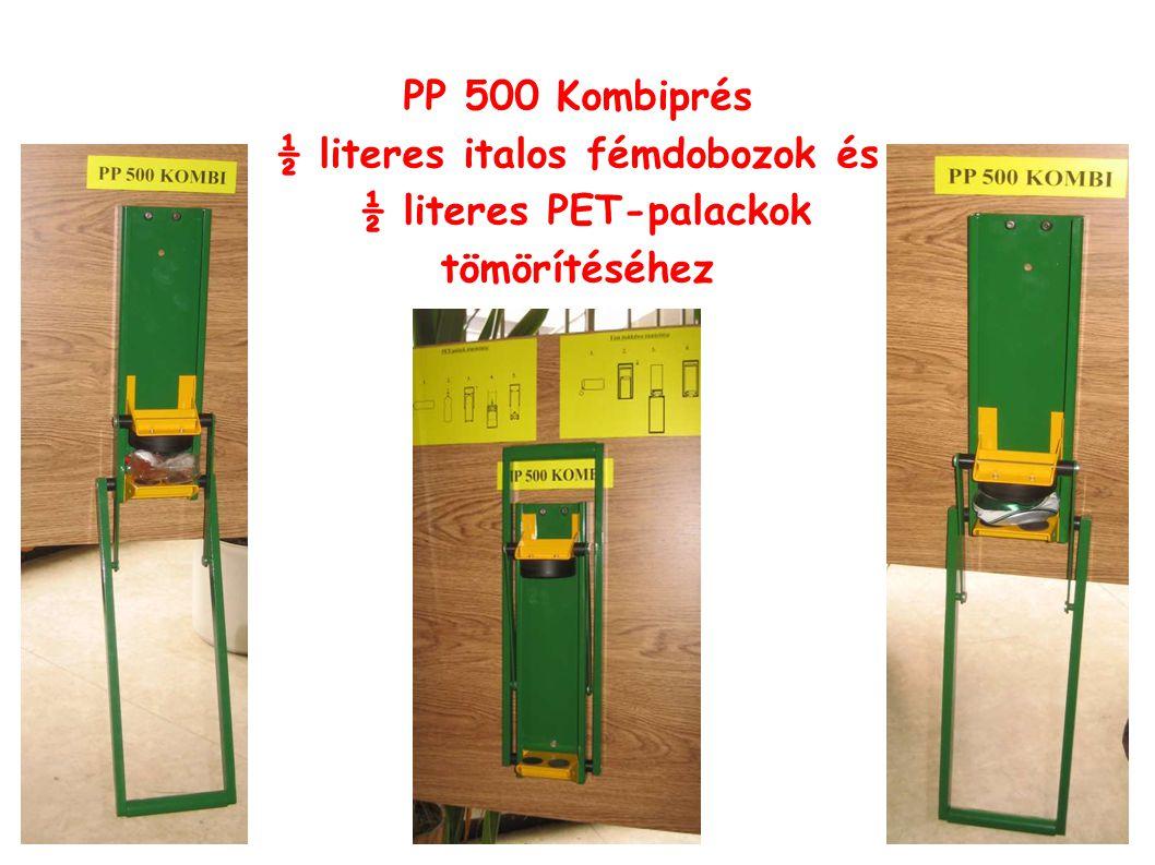 PP 500 Kombiprés ½ literes italos fémdobozok és ½ literes PET-palackok tömörítéséhez