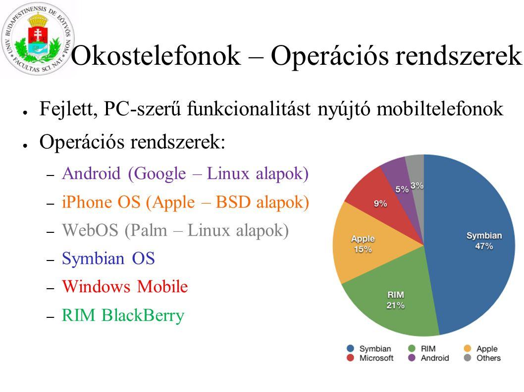 Okostelefonok – Operációs rendszerek ● Fejlett, PC-szerű funkcionalitást nyújtó mobiltelefonok ● Operációs rendszerek: – Android (Google – Linux alapo