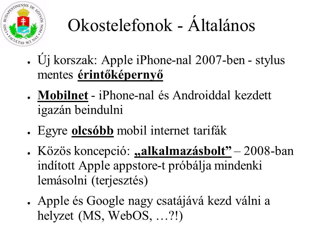 Okostelefonok - Általános ● Új korszak: Apple iPhone-nal 2007-ben - stylus mentes érintőképernyő ● Mobilnet - iPhone-nal és Androiddal kezdett igazán